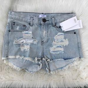 TOBI Distressed Jean Shorts